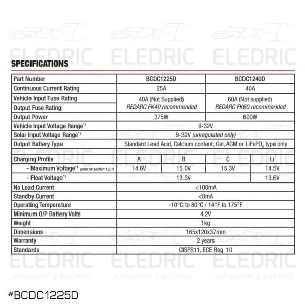 REDARC BCDC1225D SPECS