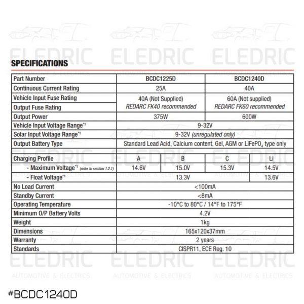 REDARC BCDC1240D SPECS